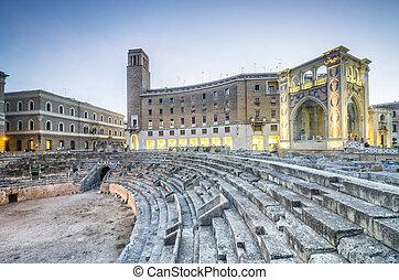 古代, イタリア, 円形劇場, lecce
