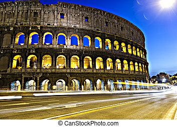 古代, イタリア, 夕闇, ローマ, ローマ人, colosseum