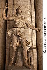 古代, イタリア, capitoline, diana, 博物館, ローマ, 像, 彫刻