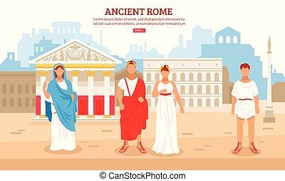 古代, イラスト, ローマ