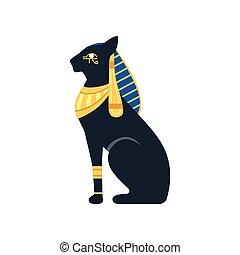 古代, エジプト人, エジプト, 女神, cat., ベクトル, 黒, イラスト, bastet