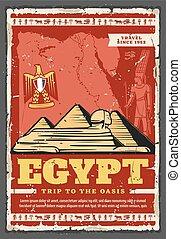 古代, エジプト人, エジプト, 旅行, sphinx., ピラミッド
