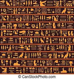 古代, エジプト人, パターン, seamless, ベクトル, 象形文字