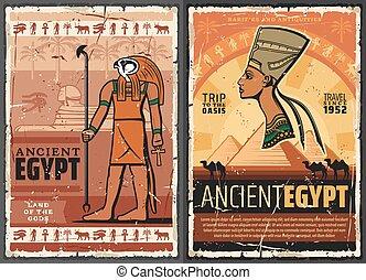 古代, エジプト人, ファラオ, スフィンクス, horus, nefertiti