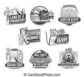 古代, エジプト人, ミイラ, ファラオ, スフィンクス, ピラミッド
