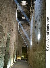 古代, エジプト人, ライト, 中, 廊下, ビーム, 寺院