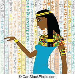 古代, エジプト人, 上に, 女, 背景, hieroglyps