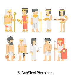 古代, エジプト人, 人々, デザインを設定しなさい, 漫画