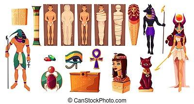 古代, エジプト人, 神, thoth, hathor., attributes