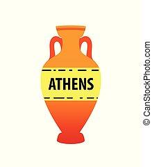 古代, カラフルである, amphora, イメージ, -, 隔離された, シンボル。, ギリシャ語, ベクトル, 白, 土器