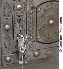 古代, キー, ダブル, 安全である, 鉄, 錠