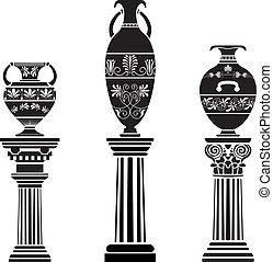 古代, ギリシャ語, つぼ, 上に, コラム