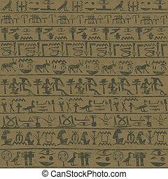 古代, グランジ, エジプト人, 壁, 背景, hieroglyphicsm