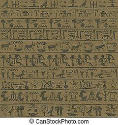 古代, グランジ, エジプト人, 壁, 象形文字, 背景