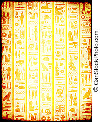 古代, グランジ, 象形文字, 背景, エジプト人