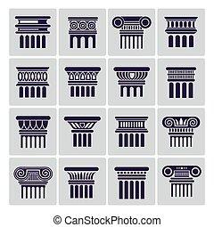 古代, シルエット, アイコン, コラム, ローマ, 建築
