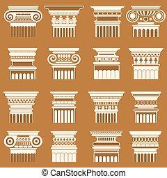 古代, シルエット, コラム, set., 首都, ギリシャ語, ベクトル, roma