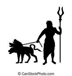 古代, シルエット, 神, hades, ファンタジー, 神話