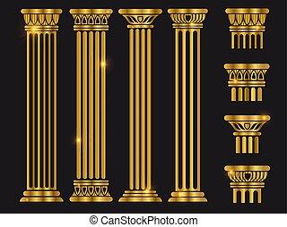 古代, セット, コラム, ローマ, ベクトル, 建築