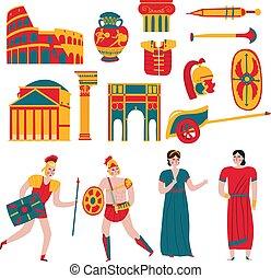 古代, セット, ローマ, アイコン
