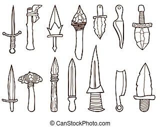 古代, セット, weapons.