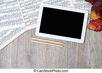 古代, タブレット, スコア, 置かれた, デジタル, テーブル, ミュージカル
