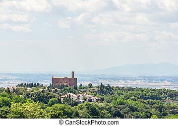 古代, トスカーナ, beatiful, 教会, 風景, 光景