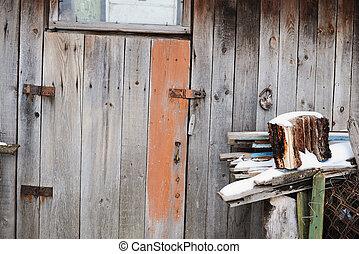 古代, ドア, 背景, 木製である, doorway., 閉じられた, 忘れられた, 古い