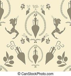 古代, パターン, 女の子, amphora, シンボル, ギリシャ語, オイル, オリーブ