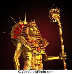 古代, ファラオ, 像, エジプト人