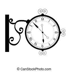 古代, ベクトル, 黒, 時計