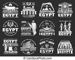 古代, ランドマーク, エジプト, 観光事業, 旅行 アイコン