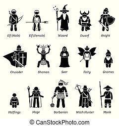 古代, 中世纪, 战士, set., 幻想, 类别, 性格, 图标