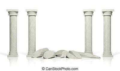 古代, 中央, 2, 隔離された, 柱, 壊される, 白い大理石