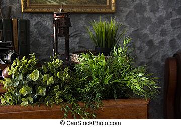 古代, 人工, 箱, 本, 緑のテーブル, 草