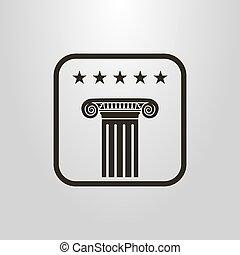 古代, 単純である, 始める, シンボル, コラム, ベクトル, 5, 下に, フレーム