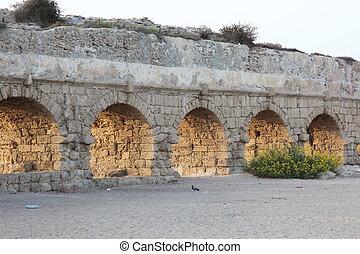 古代, 古い, イスラエル, 水路, 地中海, ceasarea, ローマ人, 海 海岸