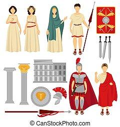 古代, 古い, 女性, ローマ, 特徴, マレ, 遺物