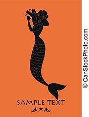 古代, 地中海, amphora., 届く, ギリシャ, 神話, mermaid