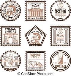 古代, 型, ローマ, スタンプ, セット, 文明