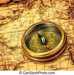古代, 型, map., うそ, コンパス, 世界
