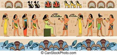 古代, 女王, 現場, エジプト人, 使用人