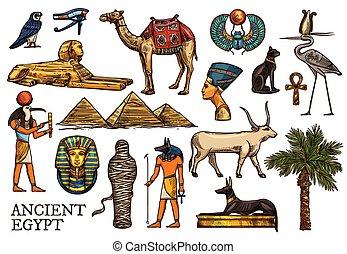 古代, 宗教, エジプト, pharaon, ミイラ, 神, ピラミッド