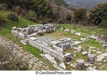 古代, 寺庙, 在, lykosura, 希腊