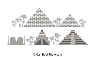 古代, 寺院, maya., エジプト, babylon, ピラミッド