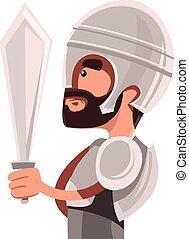 古代, 戦士, 中に, フルである, よろいかぶと