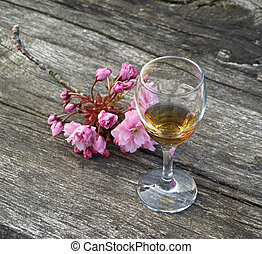 古代, 木製である, ガラス, コニャック, テーブル, 花