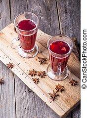 古代, 木製である, mulled, 板, テーブル, ワイン