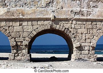 古代, 水路, 地中海, ceasarea, ローマ人, 海 海岸