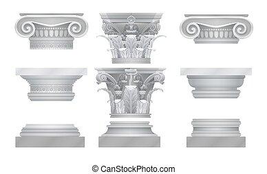 古代, 現実的, コラム, set., 首都, ギリシャ語, ベクトル, roma